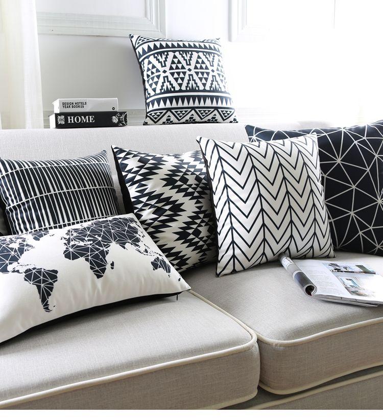 Noir Et Blanc Coussin Covers Géométriques Triangles Bande Carte Du Oreiller Decoratif on