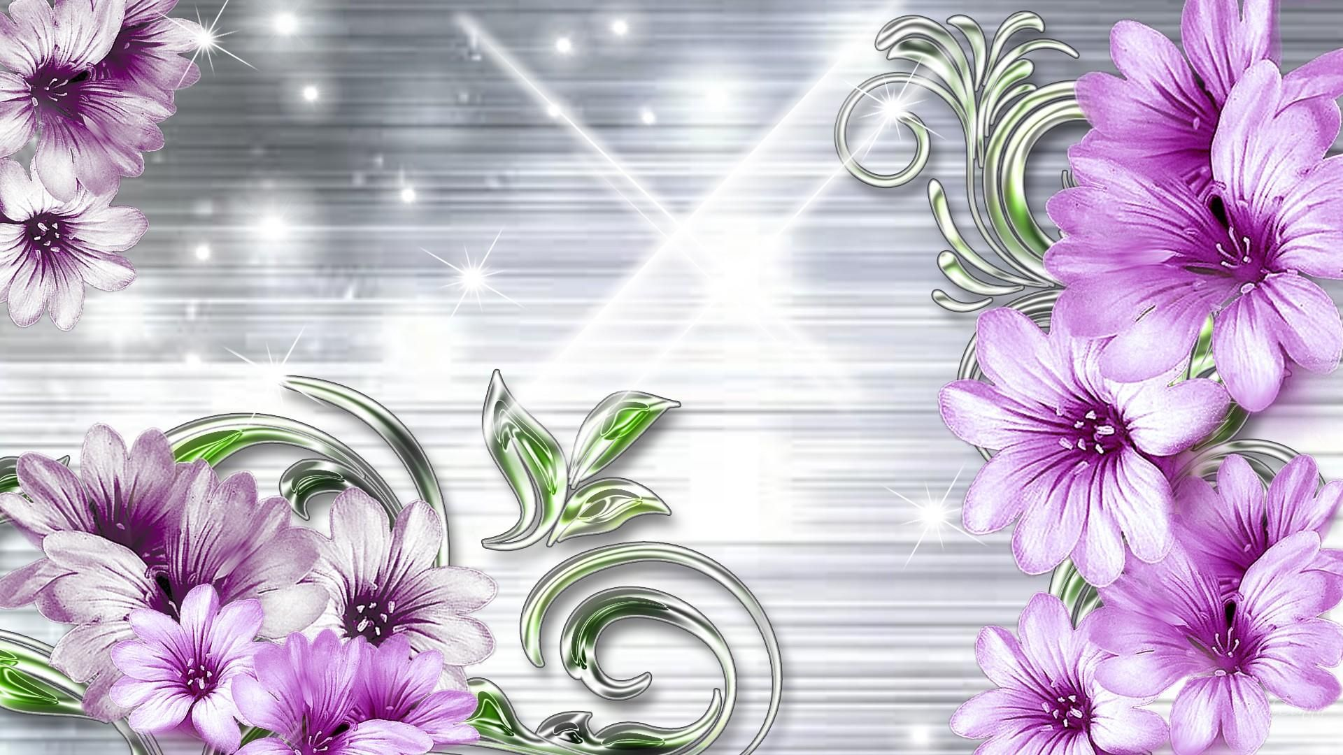Purple and silver flowers lavender on silver firefox for Purple and silver wallpaper