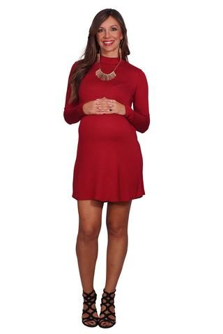 af2212919ab Long Sleeve Mock Neck Maternity Dress
