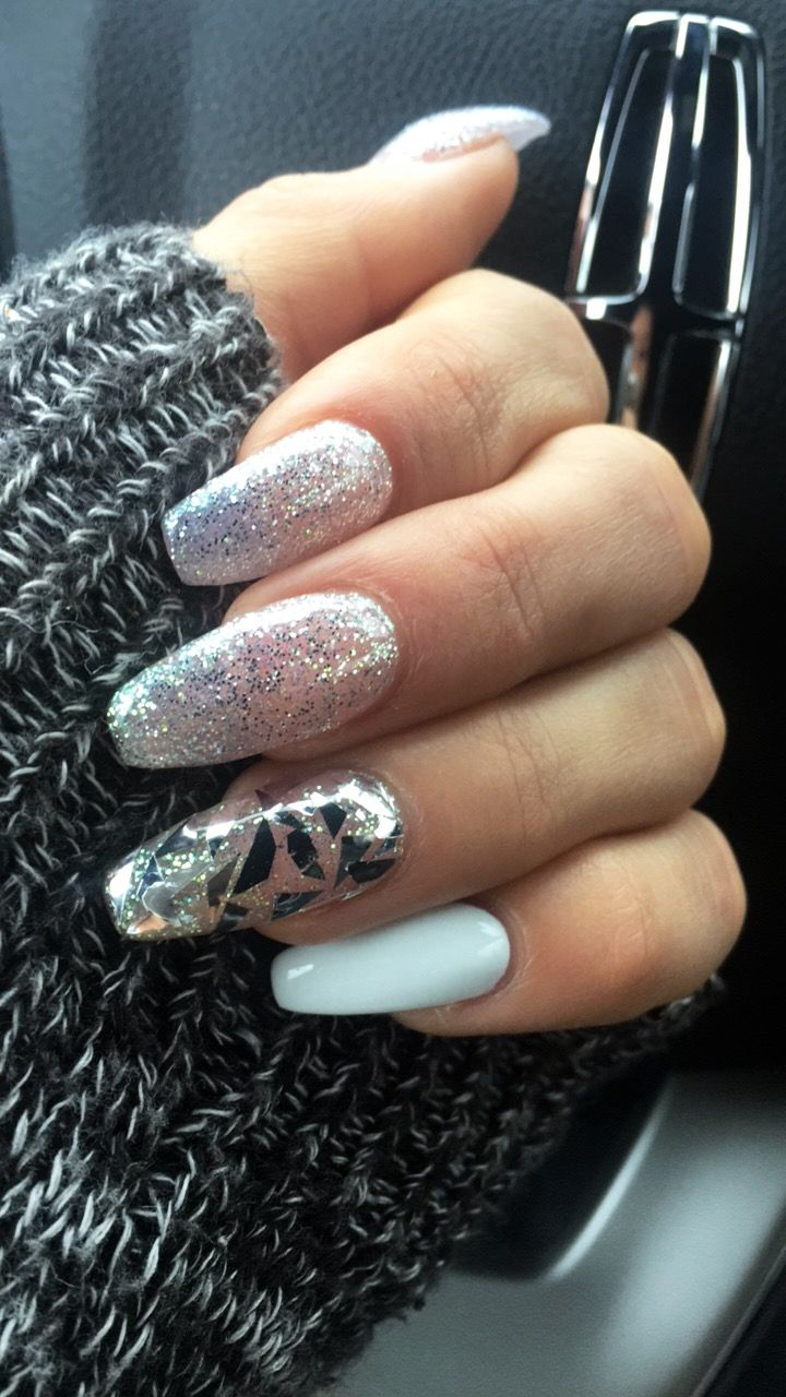 Loving this Sparkle/White and Broken Glass artistic nail look ...
