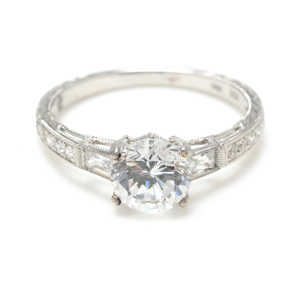 Elegant Vintage Inspired Engagement Ring With Straight Diamond Baguettes  And Bead Set Brilliant Diamonds Enhanced With