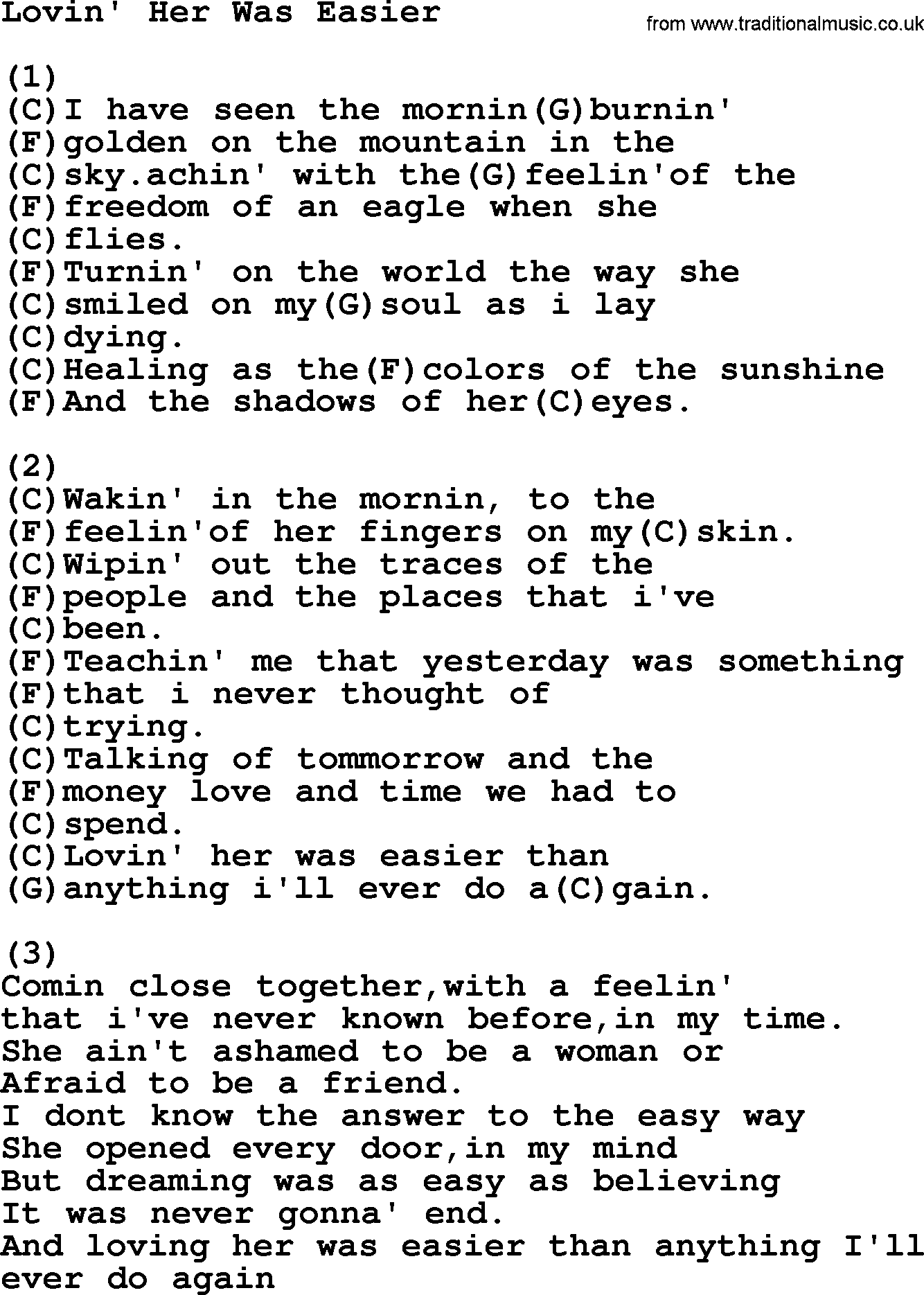 Kris Kristofferson song: Lovin' Her Was Easier lyrics and