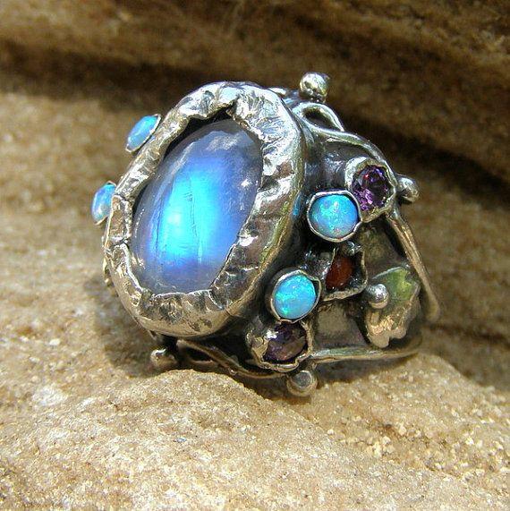 Gemstone Ring, Gemstone Jewelry, Rainbow Moonstone Lab