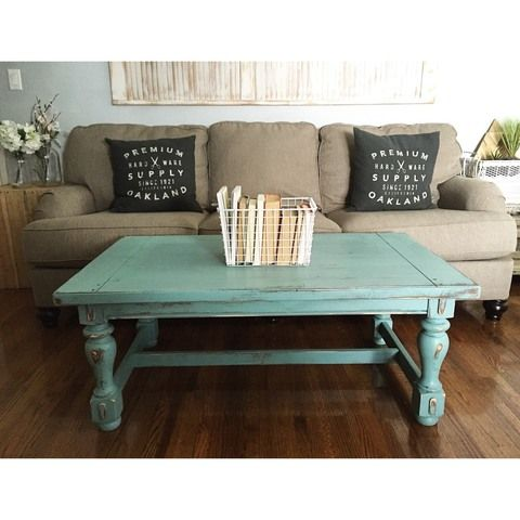 Turquoise Distressed Rustic Wood Coffee Table 48x27x19h