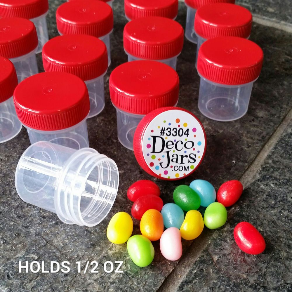 30 Tiny 1 1 4 Craft Jars Red Caps Plastic 1 2 Oz Travel Samples 3304 Decojars Decojars With Images Plastic Jars Jar Jar Storage