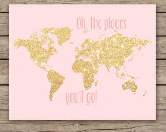 Oh the places you\'ll go - gold glitter nursery decor, printable ...