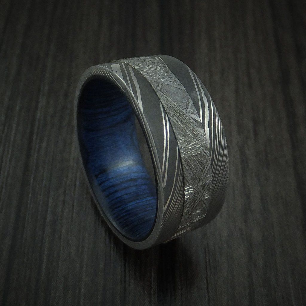 Damascus Steel Ring With Gibeon Meteorite And Midnight Blue Hardwood Custom Made Band Mens Wedding Bands