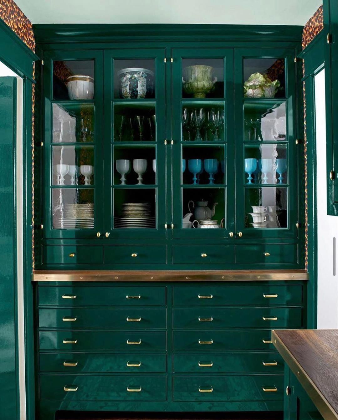 15 Kitchen Cleaning Hacks You Had Us At Green Lacquer Butlers Pantry Kitchenhacks In 2020 Green Kitchen Green Kitchen Cabinets Kitchen Cabinet Colors