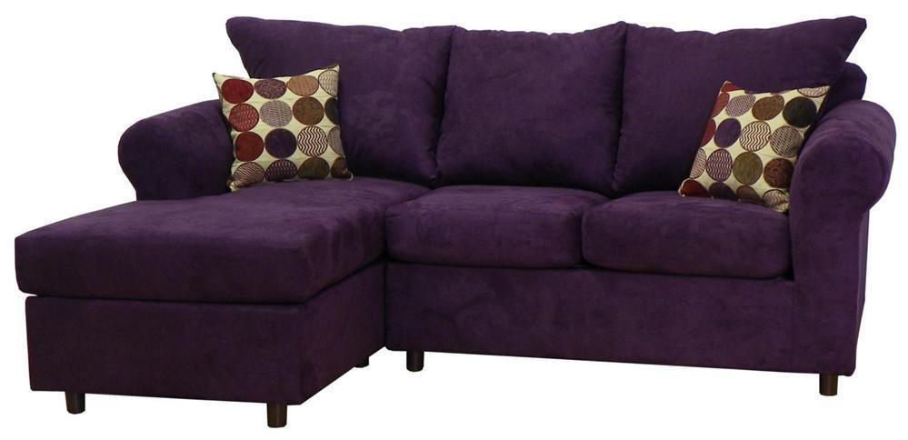 Nice Dina 2 Pc Sectional Sofa In Bulldozer Eggplant Fabric [ID 2258673]