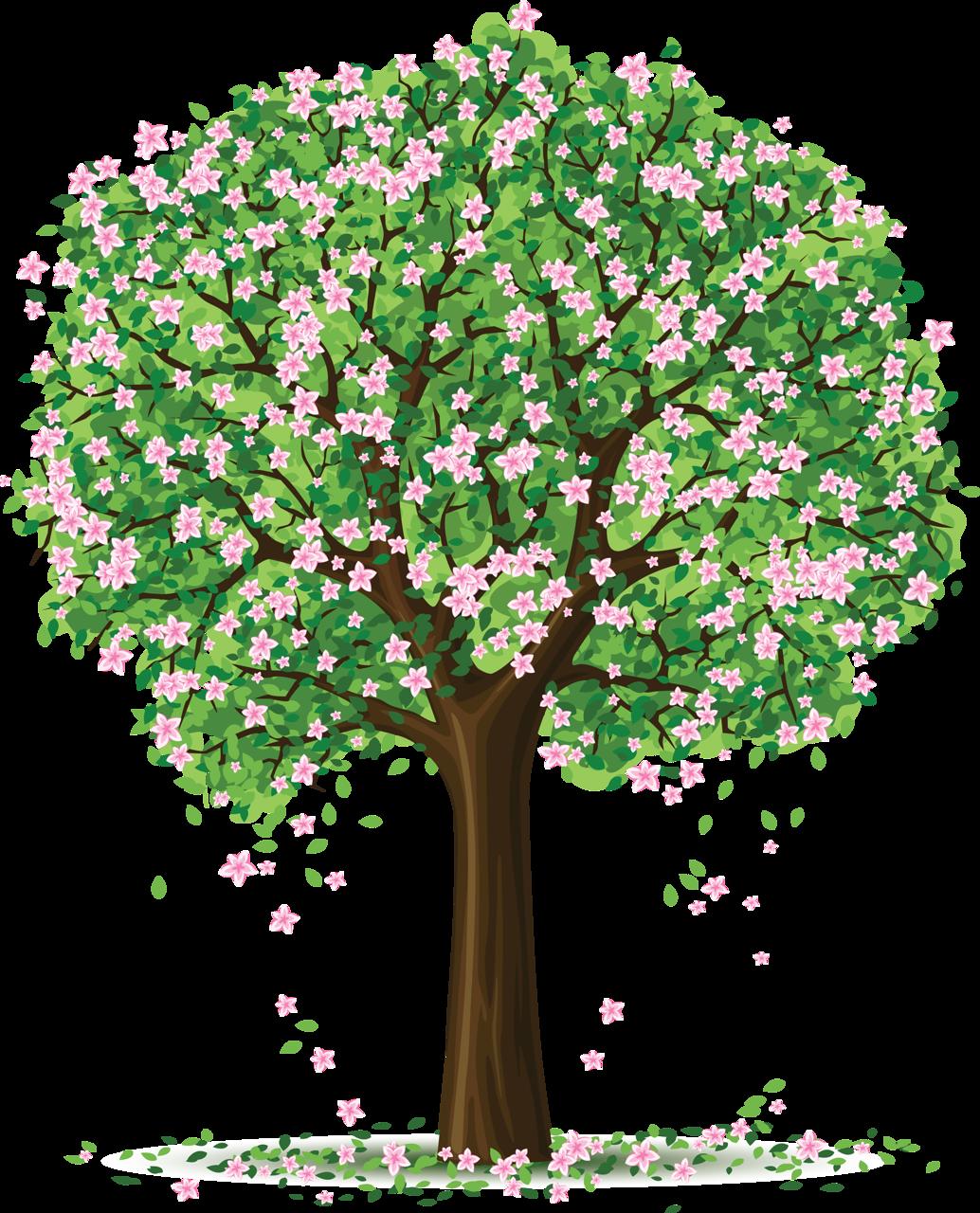 Добрым утром, открытка дерево с цветами