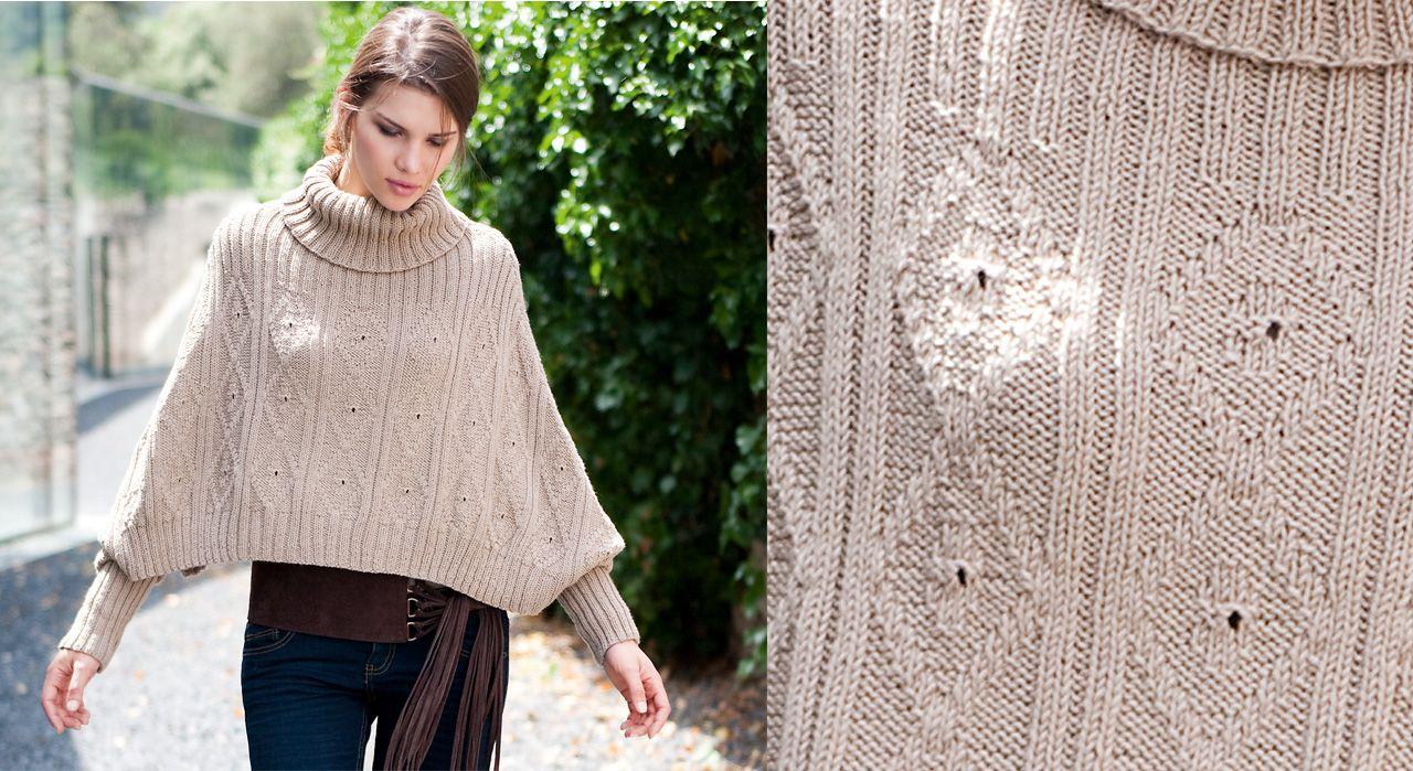 Chic un poncho tricoté dans un point fantaisie ! Des motifs losange, un fil  beige 08c0946eadc