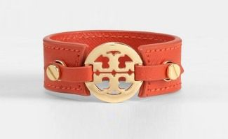 Tory Burch Logo Skinny Double Snap Cuff #tangerine www.theblush.com