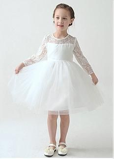 In Stock Cute Satin & Tulle Ball Gown Flower Girl Dresses With Long Sleeves