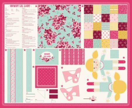 Howdy Lil Lady Doll Multi Panel Pink By Stacy Iest Hsu For Moda