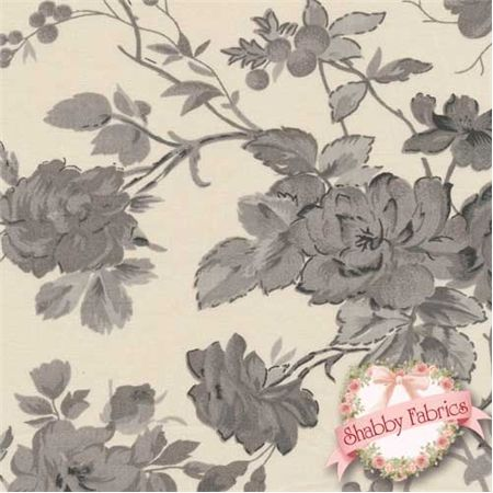 Boutis BELE.TG Helena Tea Beige by Couleur Nature/Mas dOusvan: Boutis is a spectacular shabby style collection by Bruno Lamy for Couleur Nature/Mas dOusvan.  This fabric was designed in Paris and printed in India.  100% cotton, 43/44 wide.  This fabric features a rose floral design in grays on a tea colored background.