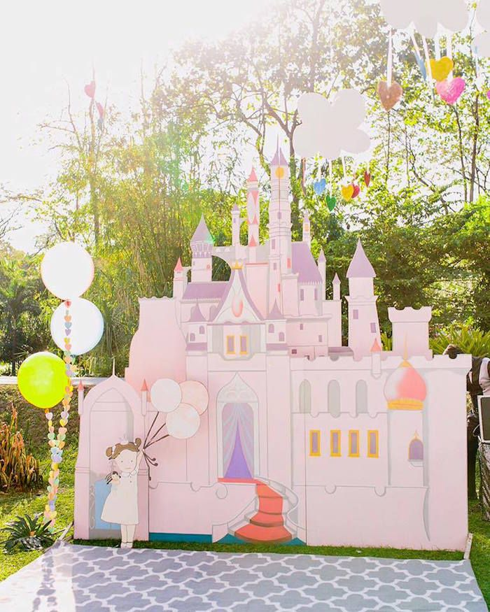 Castle Backdrop From A Pastel Girly Wonderland + Rainbow Birthday Party Via  Karau0027s Party Ideas KarasPartyIdeas