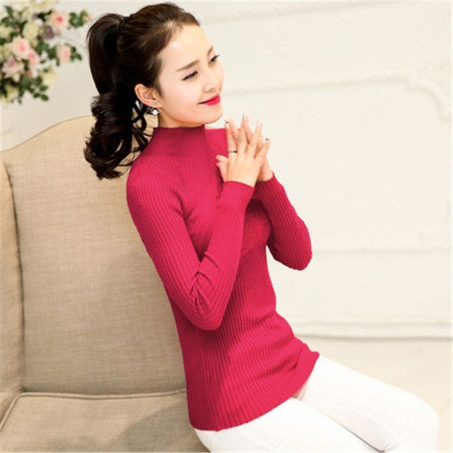 2016 Spring Fashion Turtleneck Sweater High Elastic Solid women Slim Sexy Tight Bottoming Knitted Pullovers Women Sweater