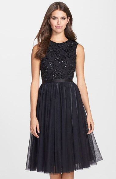 Free shipping and returns on Needle   Thread Embellished Mesh Fit   Flare  Dress at Nordstrom.com. Hand-sewn beads and sequins give patterned sparkle  to a ... 7a209664baca