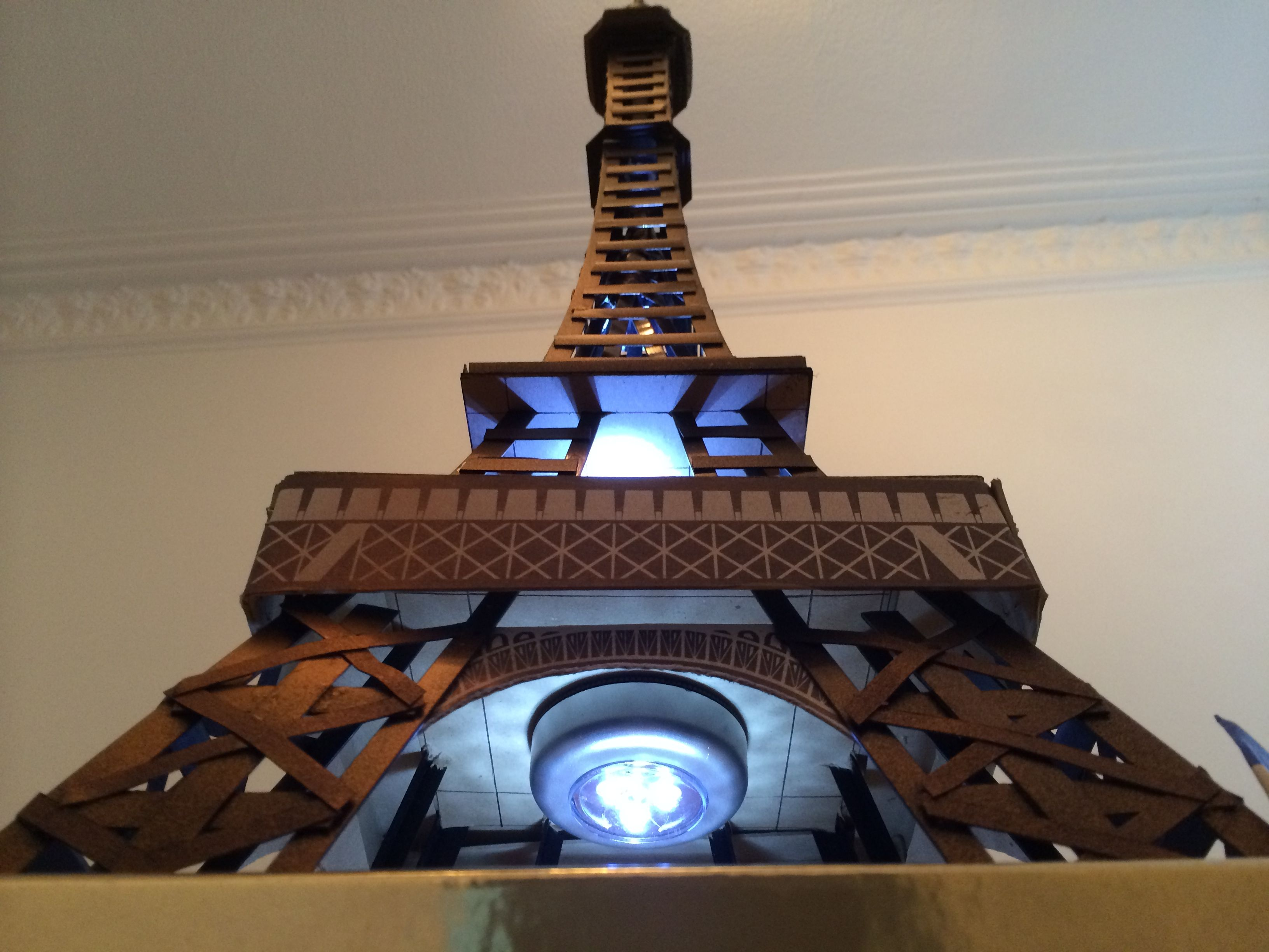 Exceptional Homemade Model Of Eiffel Tower   Created With Black Plastic Angle Edging  Rods, Card,