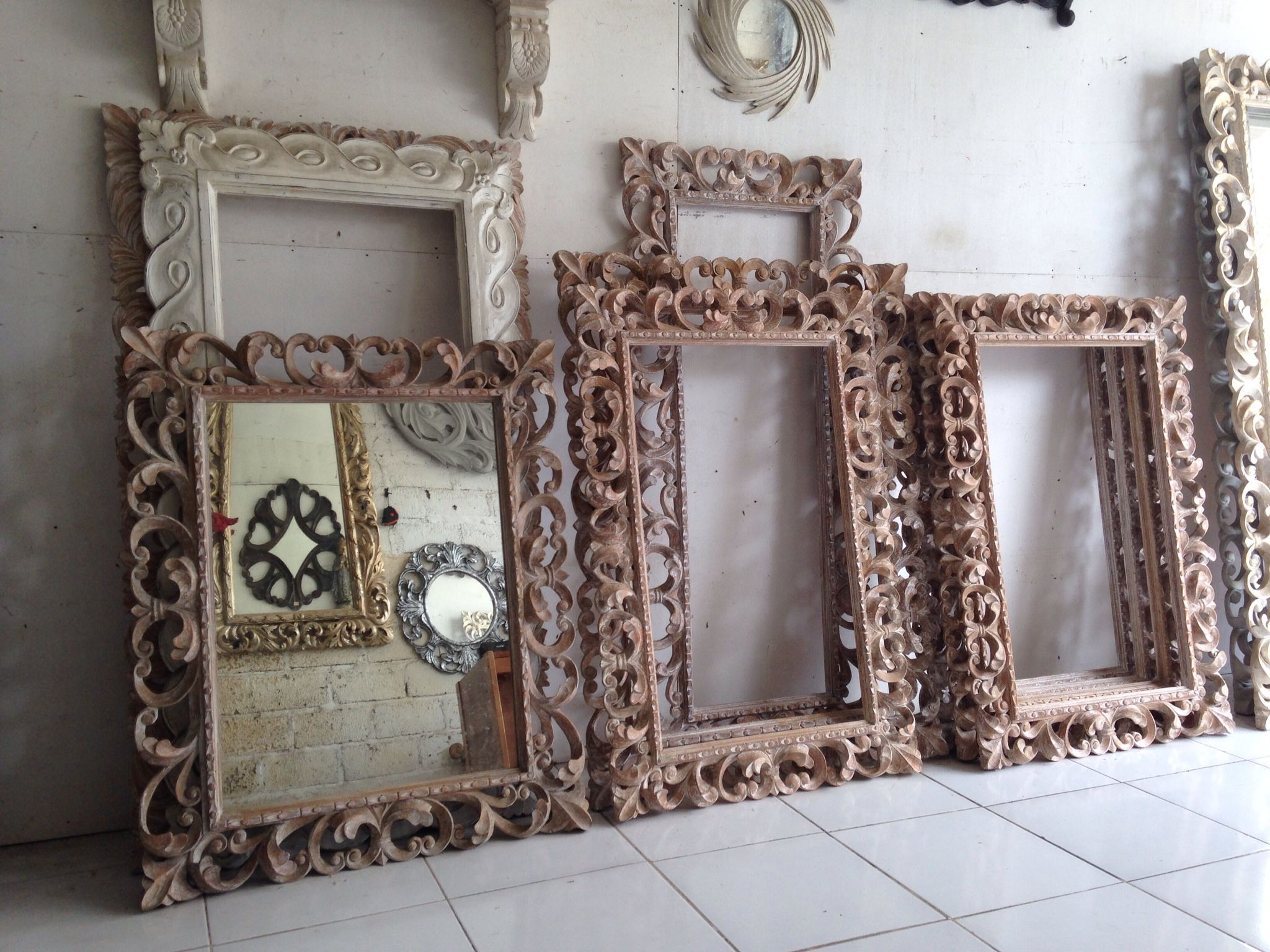 Carved Teak Magic Wardrobe.Balinese Style Hand Carved Mirror Frames Kouboo Global Product
