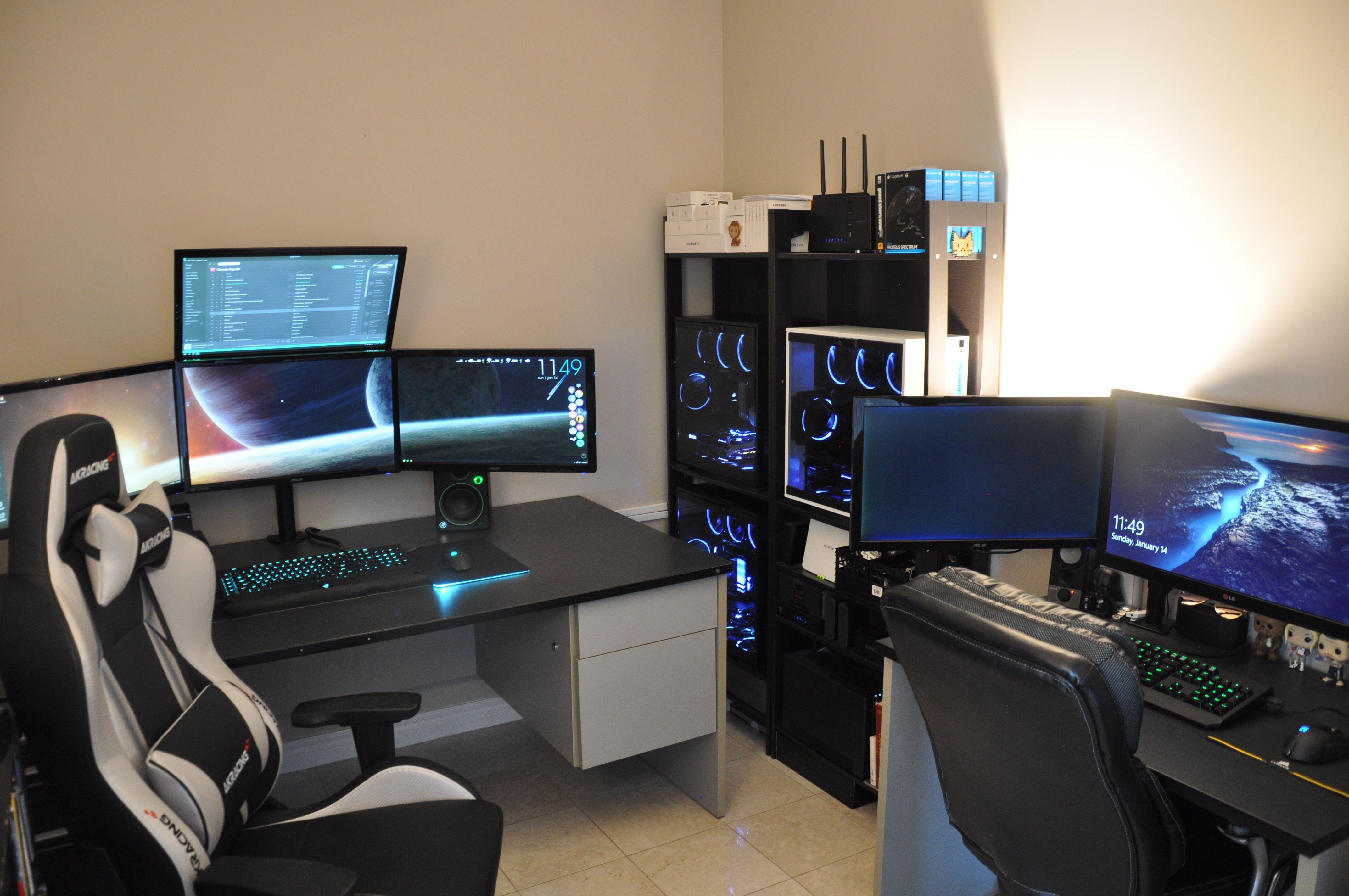 Gtror350z His And Hers Battlestation Battlestation Simple Computer Desk Computer Desk Setup