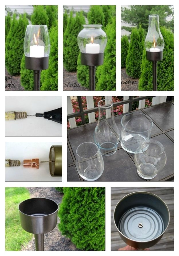 Diy lanterns tuna can glass globe dowel or old broom handle copper