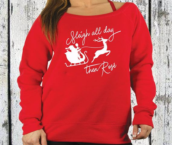 womens wine christmas sweater sleigh all day then rose