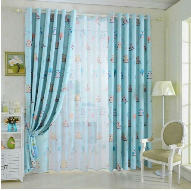 Cartoon Style Owl Pattern Curtains For Children Fabric Cloth Drape Sheer  Tulle Curtains Cheap Kids Room