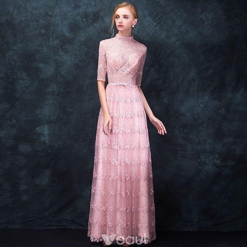 Photo of Elegante Candy Pink Pierced Abendkleider 2018 A-Linie / Prinzessin High Neck 1/2 Ärmel Applikationen Spitze Strass Schleife Schärpe lange Rüschen Abendkleider