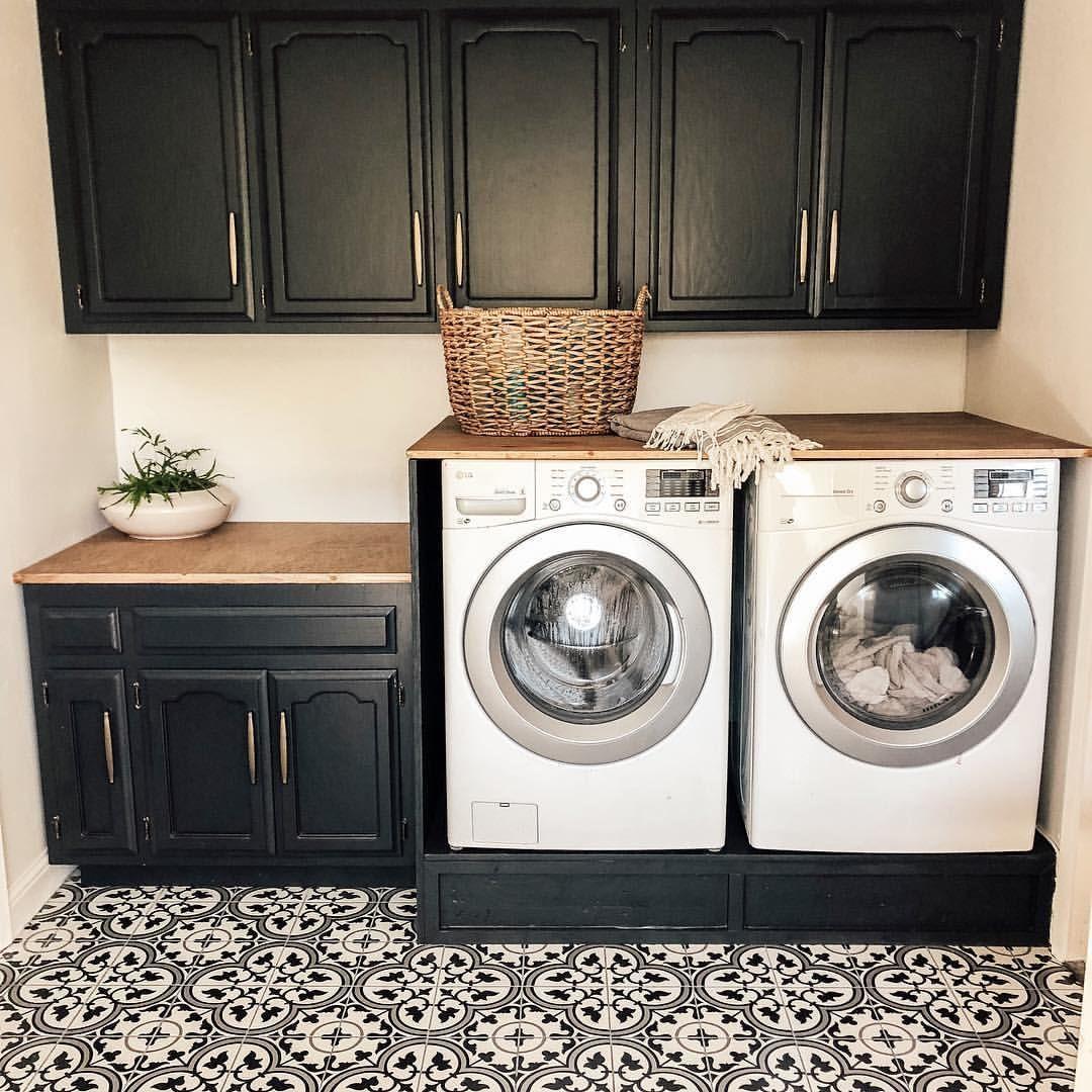Modern Farmhouse Laundry Room Black Cabinets Wood Countertop Black