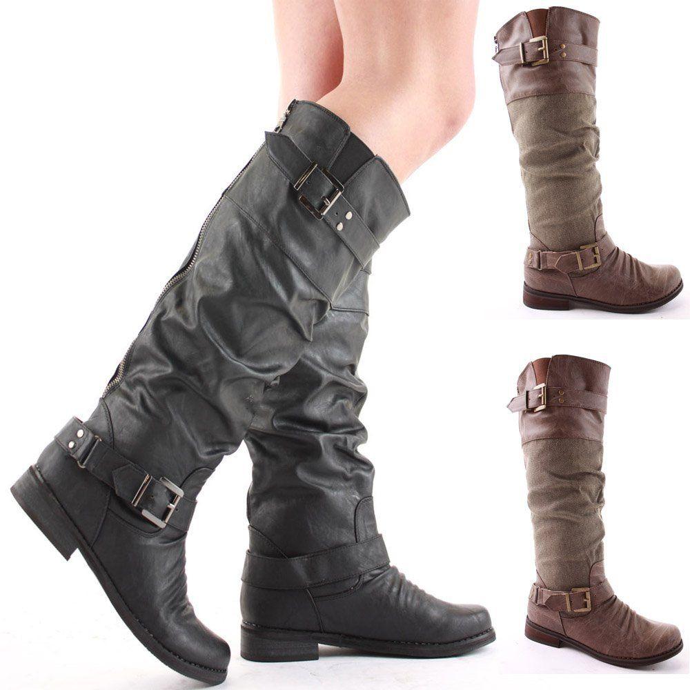 4f69b3964c2 shoeFashionista - Zapatos De Mujer Botas Planas Motorista Tamaño 36 - 41   Amazon.es  Deportes y aire libre