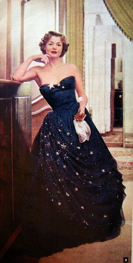 Balmain 1950 fashion style color photo print ad formal evening gown dress  strapless dark blue navy midnight stars gold long full skirt 50s model  magazine be549e78cb