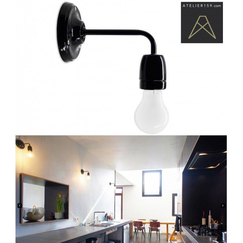 Lampe Applique Retro En Porcelaine Noire Zangra Wall Lights