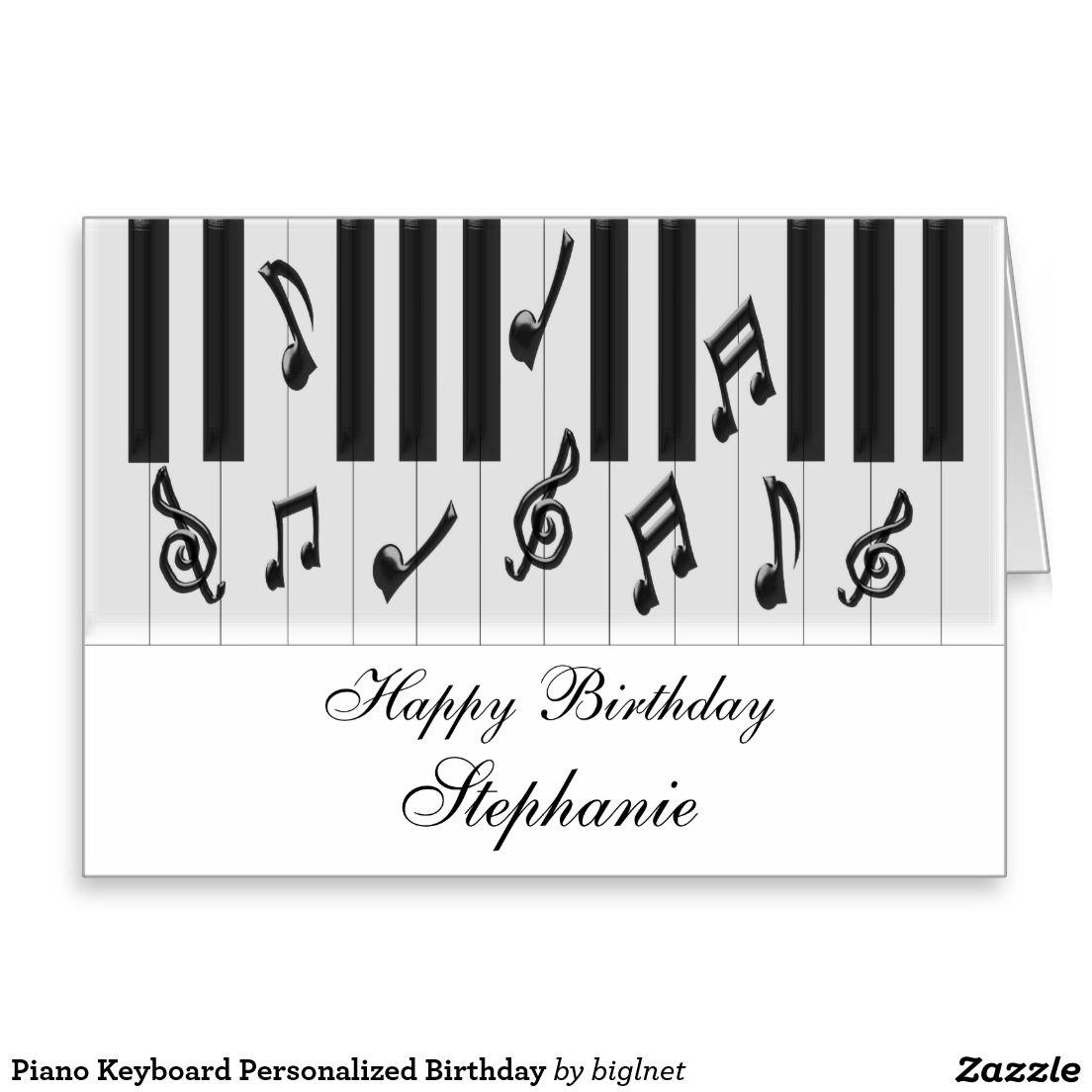 Piano Keyboard Personalized Birthday Card Birthday Cards