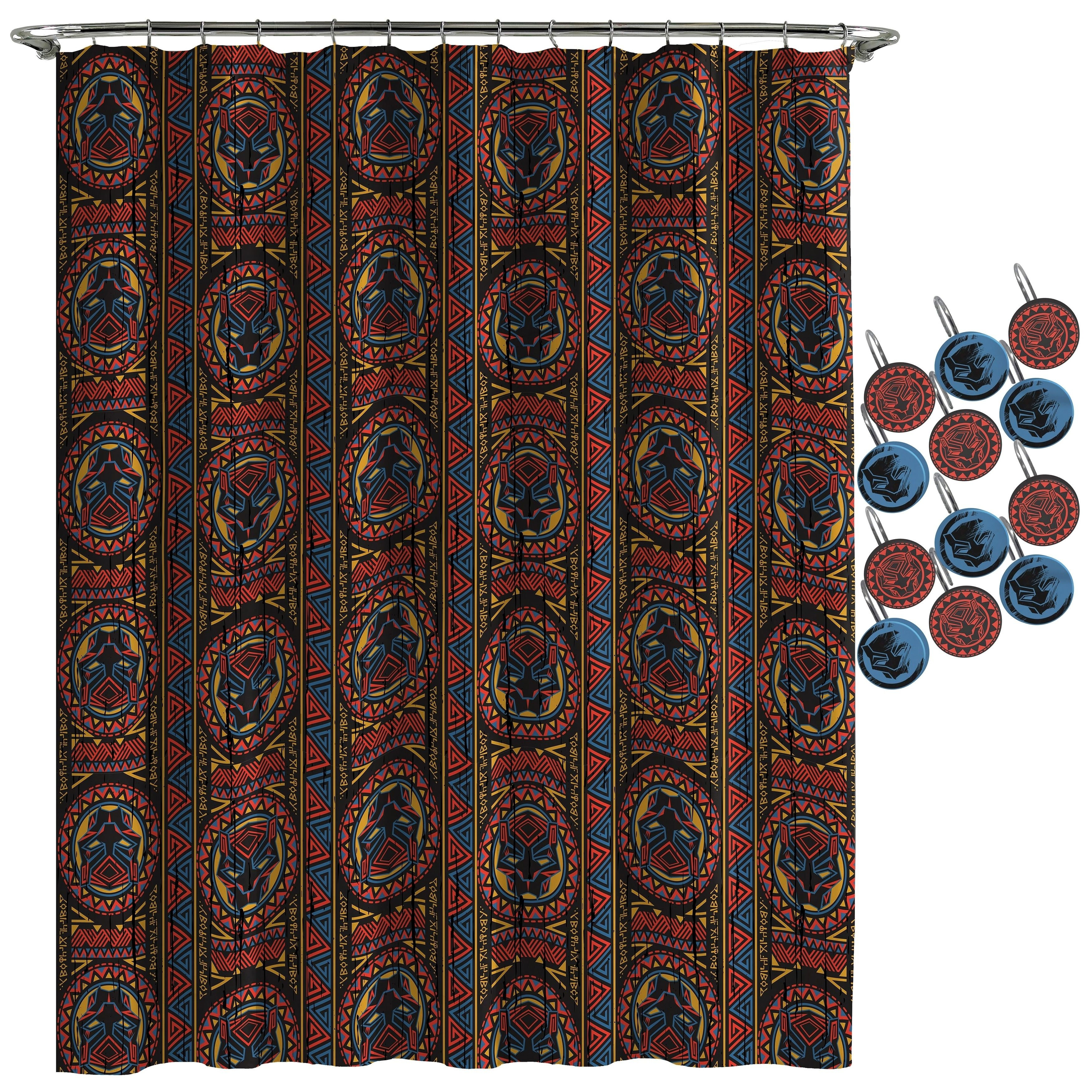 Black Panther Tribal Shower Curtain And Hooks Marvel Shower