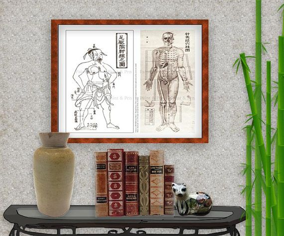 16x20 Medical Reference Poster - Ancient  Modern Acupuncture Models