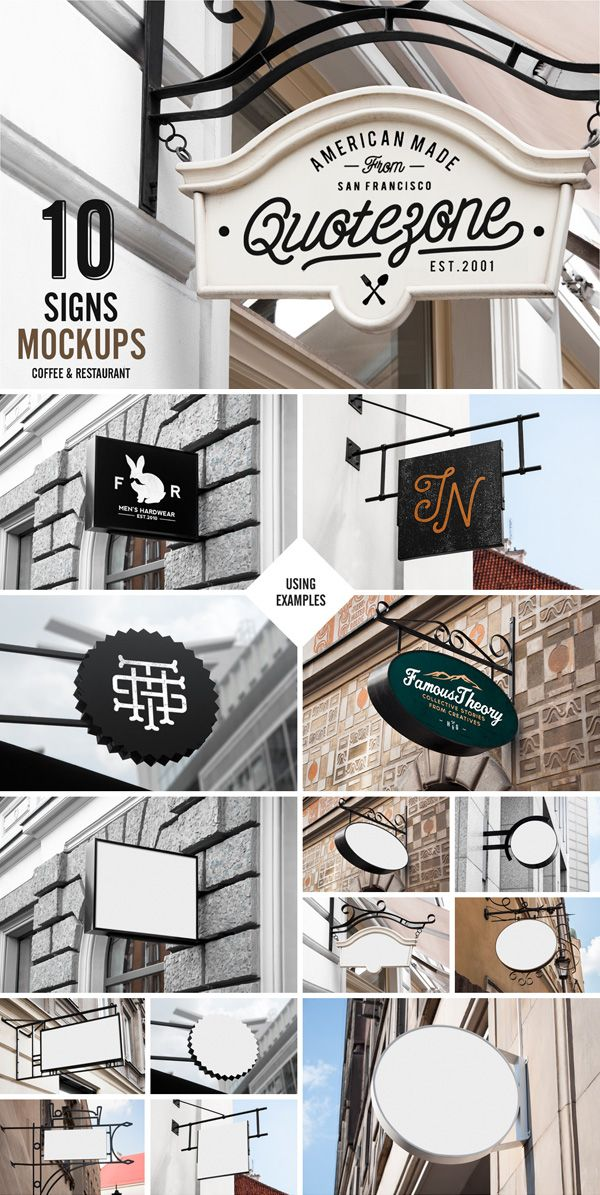 Signs mockup restaurant coffee psd mockups product