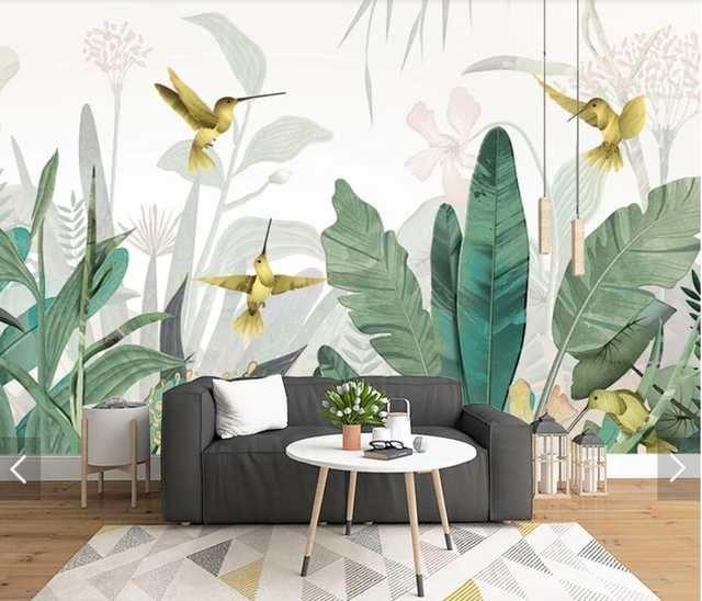 3d Tropical Banana Blatter Vogel Tapete Wandbild Fur Wohnzimmer Wand Dekor Handgemalte Kontaktieren Papier Wandbilder Wand Papier Anpassen Tapeten Wandbilder