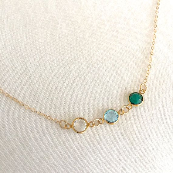 Mothers Day Gift Birthstone Charms Bridesmaid Gift 14K Gold Dainty Family Birthstone Necklace Solid Gold Birthstone Personalized Jewelry