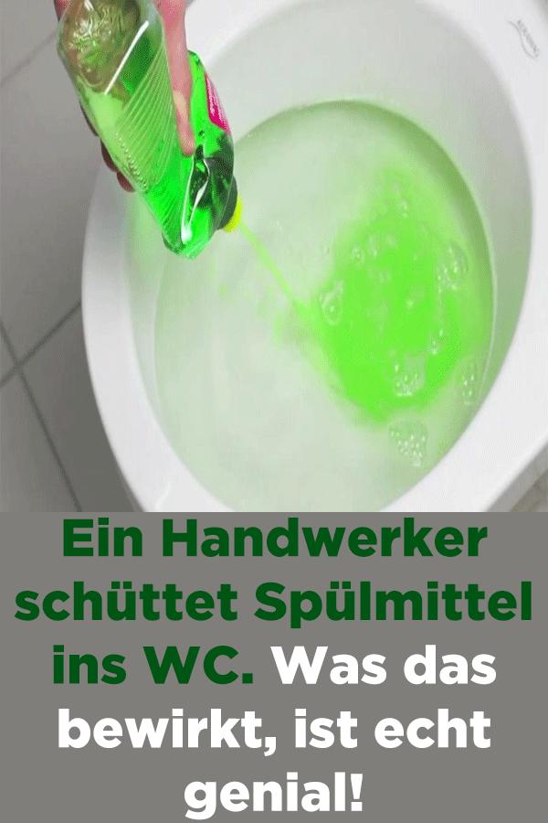 Ein Handwerker Schuttet Spulmittel Ins Wc Was Das Bewirkt Ist Echt Genial Mit Bildern Toiletten Reinigen Badezimmer Putzen Tipps Hausreinigungs Tipps