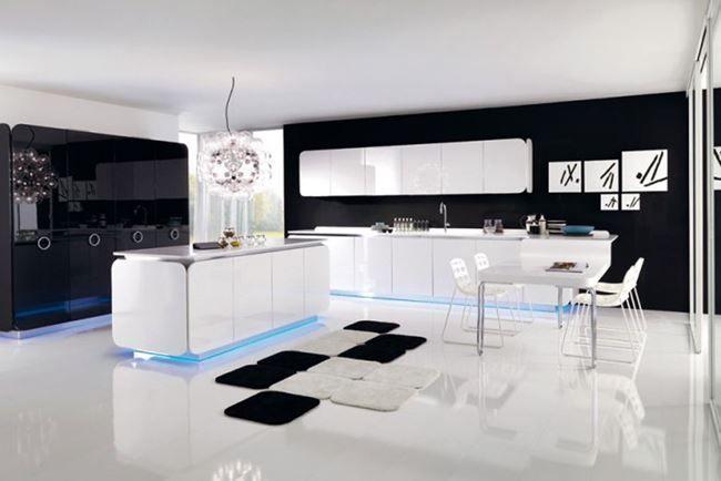 Wonderful Black White Kitchen With Neon Lighting 650×434