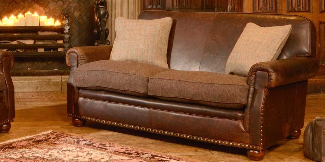 Leather And Tweed Couch Sofa Pee