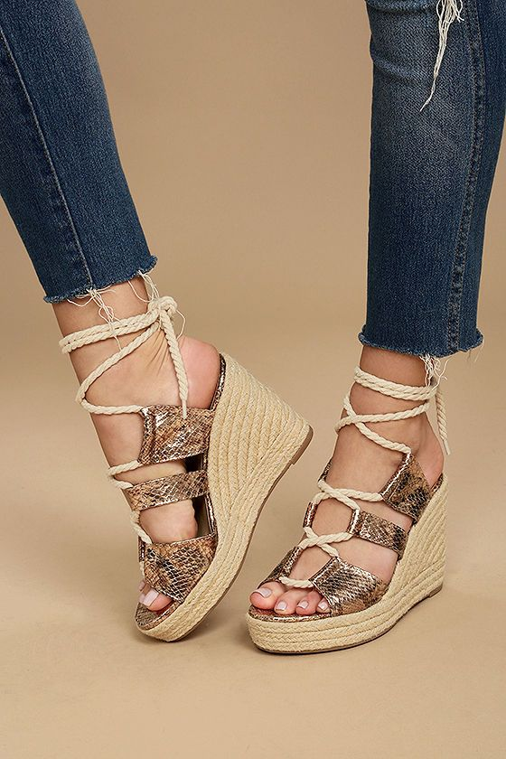 5c5a32bf4ad Glamorous Zelda Rose Gold Snake Lace-Up Espadrille Wedges | Shoes ...