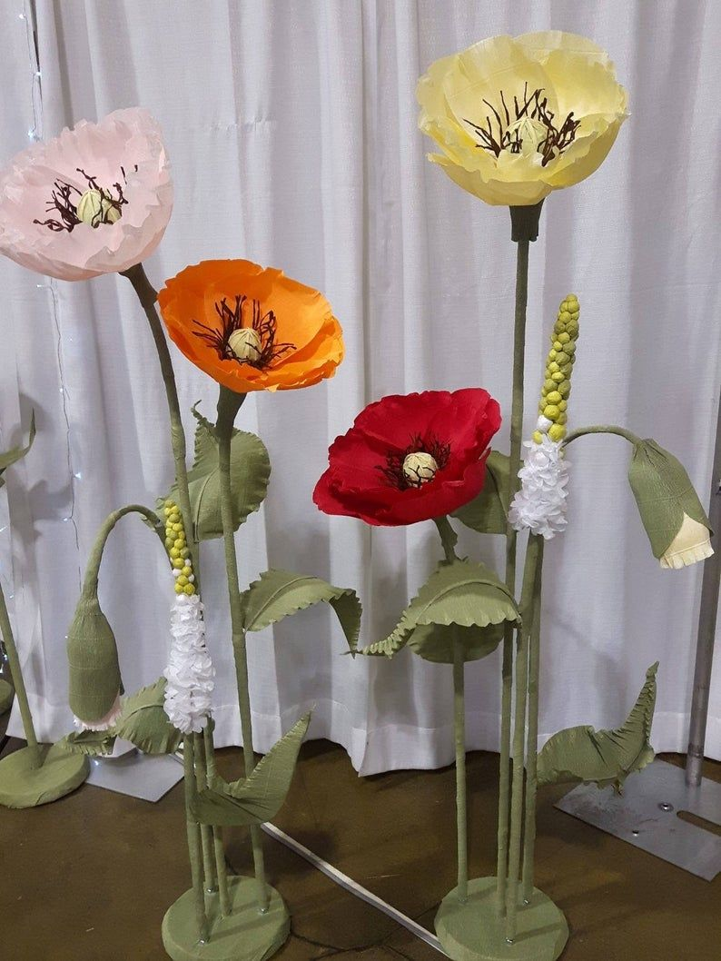 Photo of Large Paper Poppy Flowers with stem – Photo shoot props – Interior Decor – Shop window display – Wedding decor – Bridal shower decor