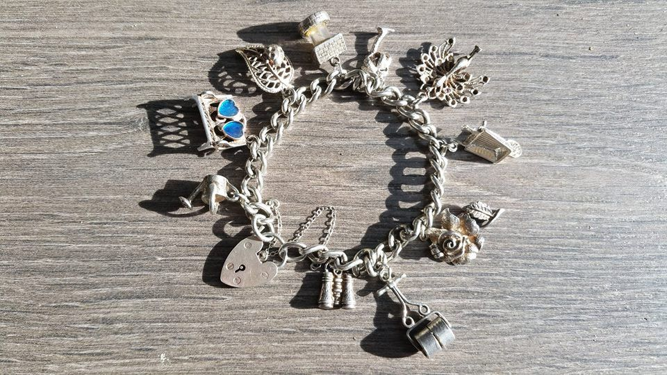 Vintage Garden Theme Charm Bracelet. Sterling Silver. Gifts For Gardeners. Retirement  Gift By