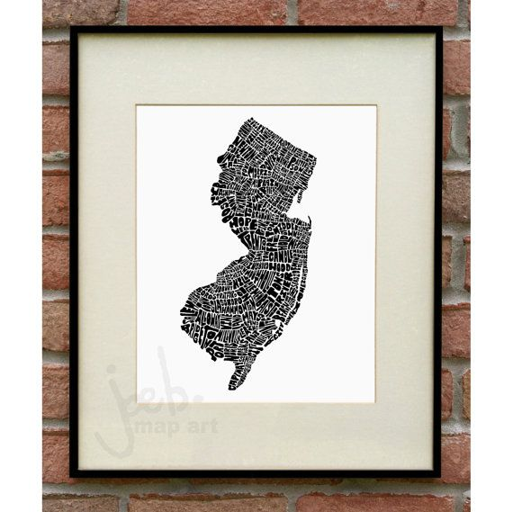 New Jersey Typography Map, New Jersey Art Print, Map Of