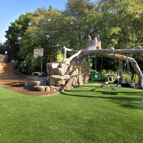 That Is A Cool Back Yard For Kids No Swing Set Holes In The Grass