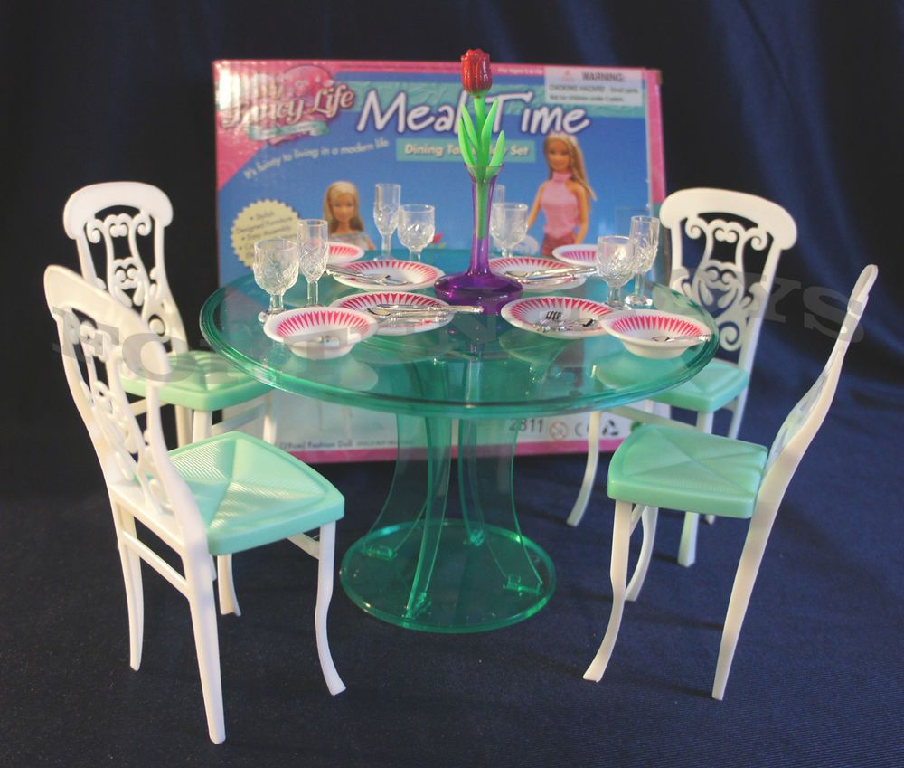FANCY LIFE DOLLHOUSE FURNITURE MEAL TIME 4-Chairs DINING ...