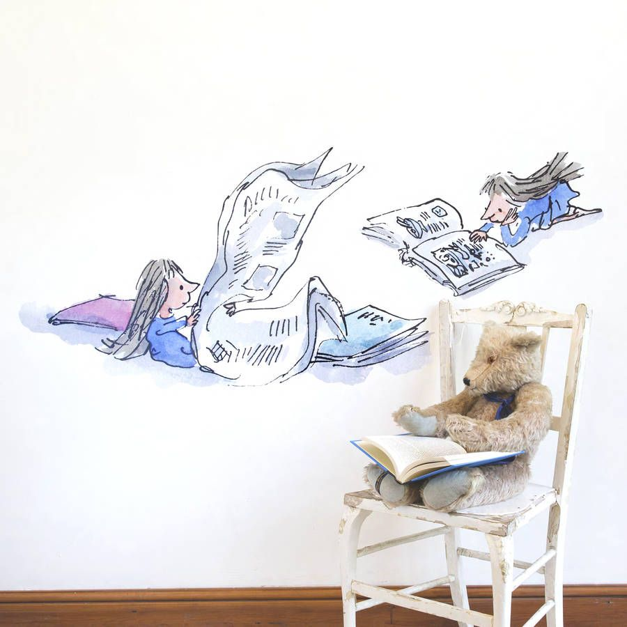Matilda reading roald dahl wall sticker by oakdene designs matilda reading roald dahl wall sticker by oakdene designs notonthehighstreet amipublicfo Image collections