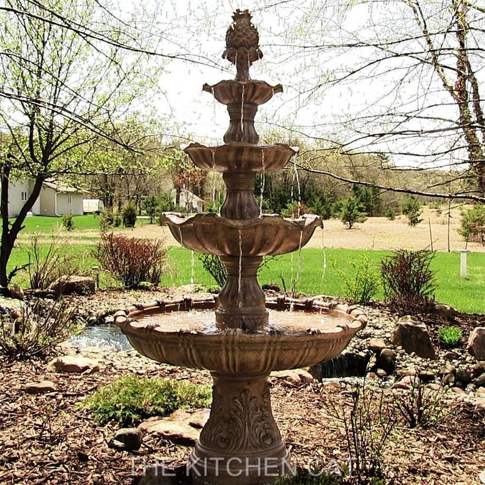 Huge 7 Ft Tall Courtyard Fountain 4 Tier Outdoor Classic Patio Water Garden  Pond